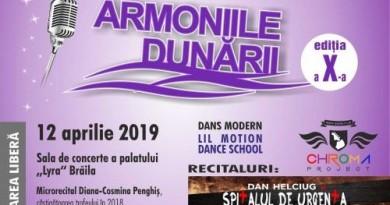 """Preselectie pentru Concursul Naţional de Muzică Uşoară pentru Copii """"ARMONIILE DUNĂRII"""", ediţia a X-a Brăila, 12 aprilie 2019"""